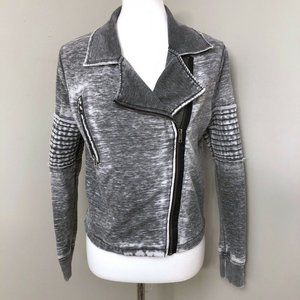 Mona B Gray Distressed Cotton Moto Jacket